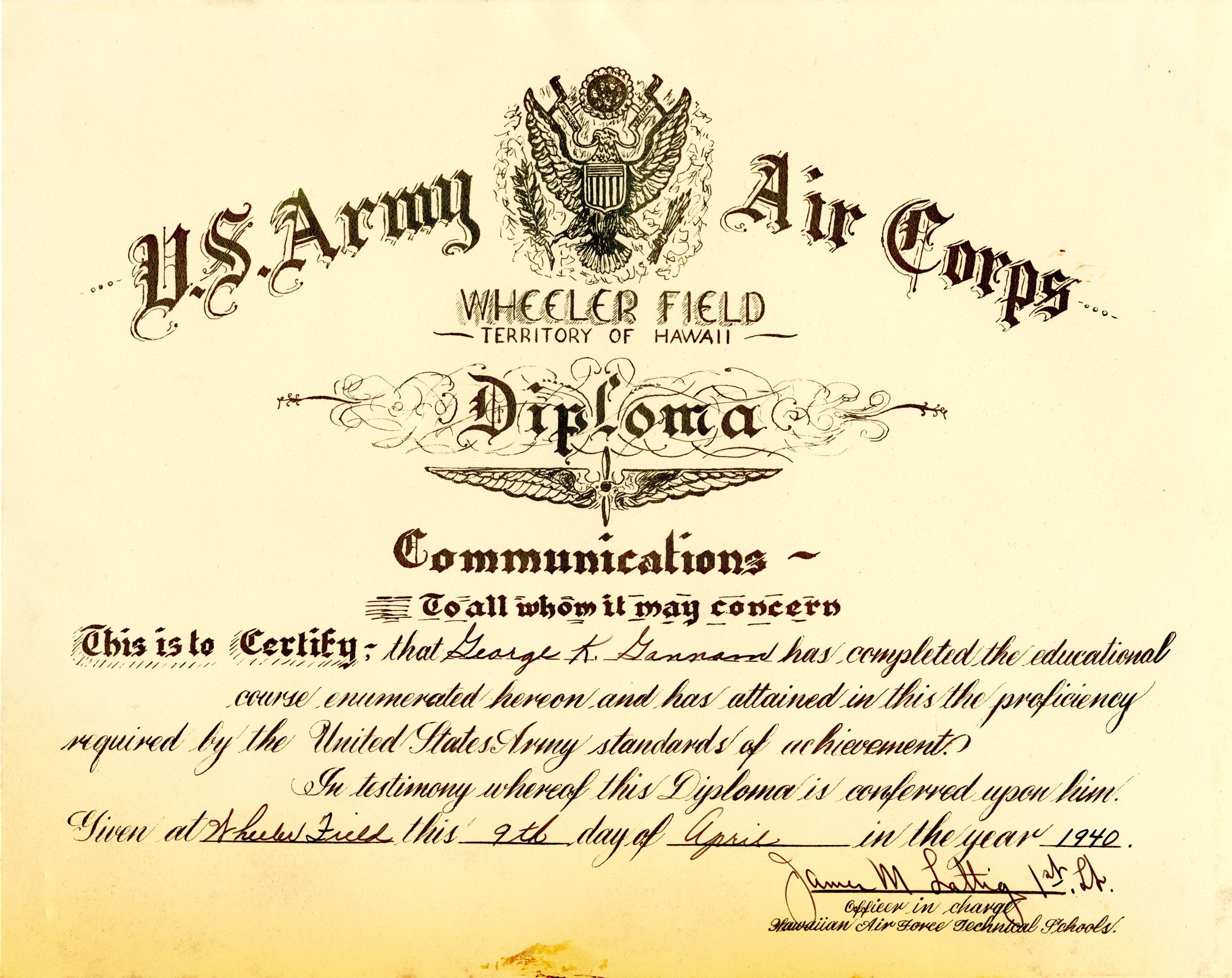 Georges Communications Diploma from Wheeler Field