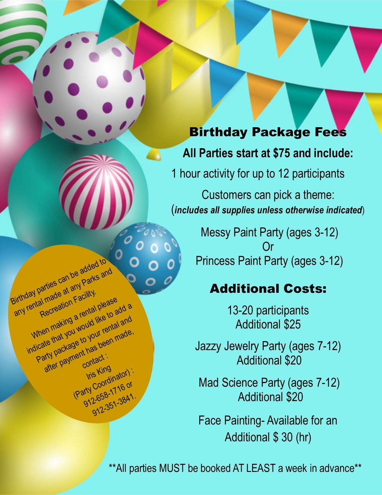 Birthday Party Package Flyer