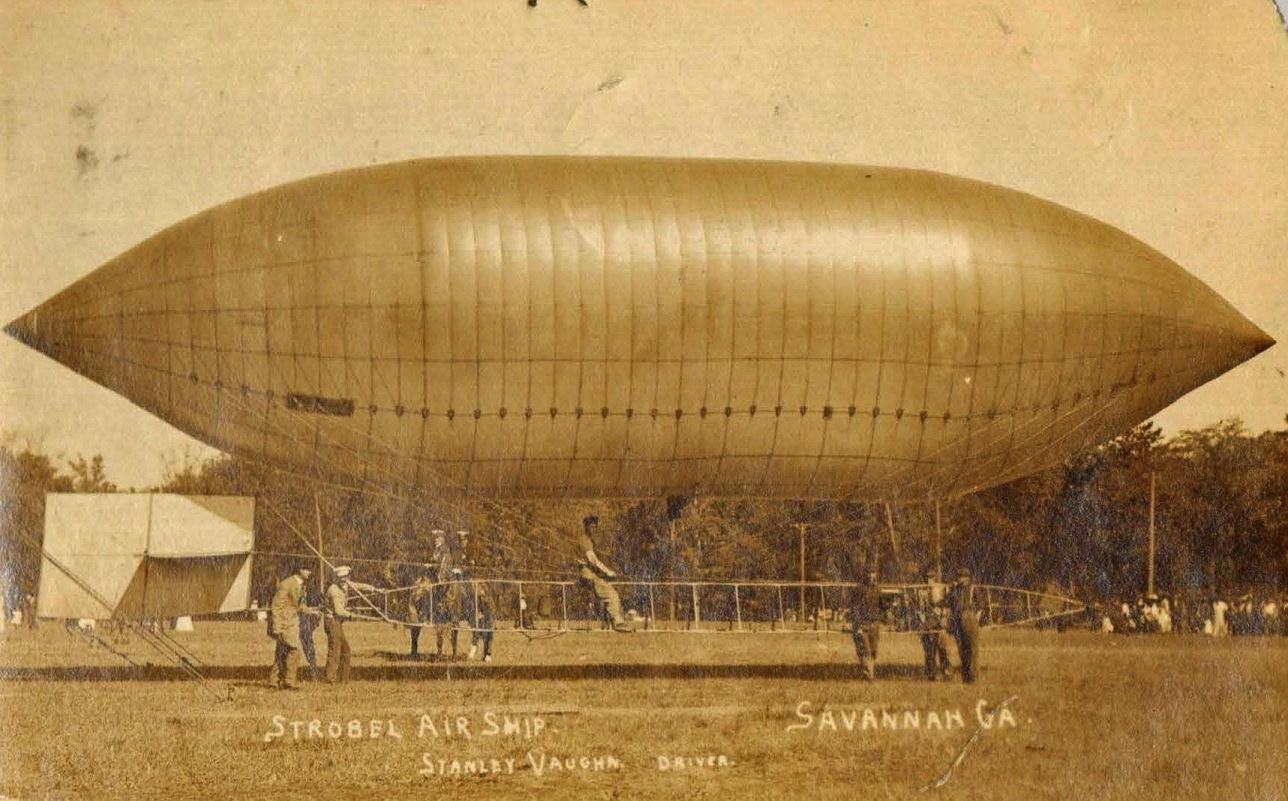 The Strobel Airship was a highlight of the Great Savannah Races as seen in this 1909 postcard. Between 1908 and 1911, Savannah played an important role in the popularization of the automobile by hosti
