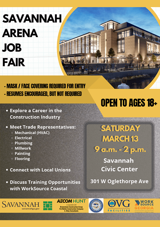 AECOM Hunt will host a job fair for upcoming work at the Savannah Arena on Saturday, March 13, from 9 a.m. to 2 p.m. at the Savannah Civic Center, 301 W. Oglethorpe Ave.