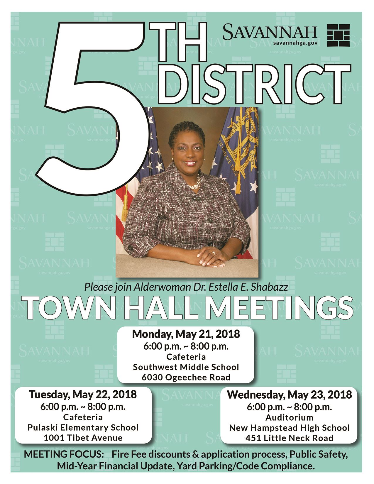 Town Hall Poster District Five Invitation