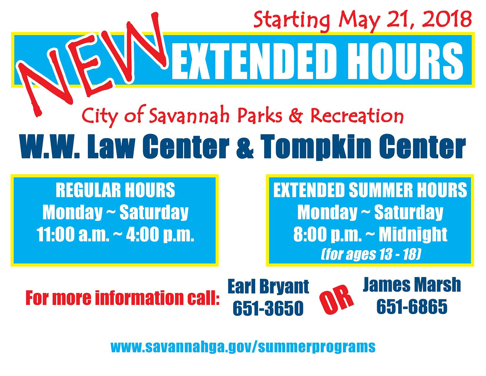 Extended hours Tompkin and WWLaw centers 05162018