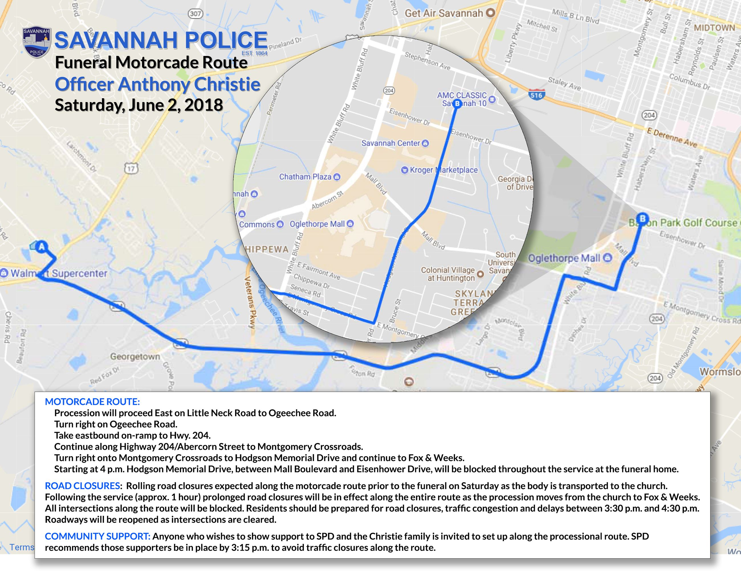 Officer Anthony Christie Funeral Motorcade route map 06022018 2