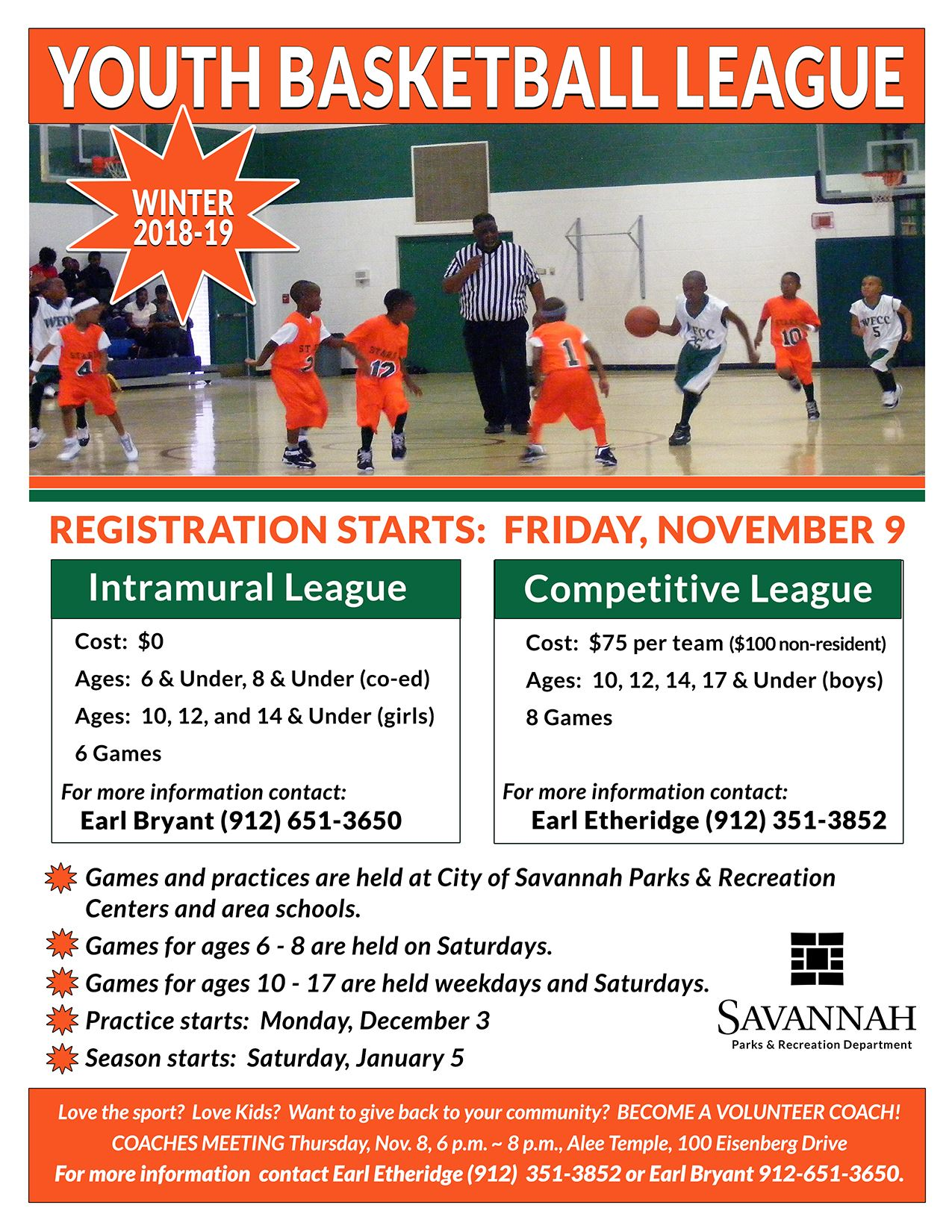 Parks and Rec Youth Basketball League Flyer