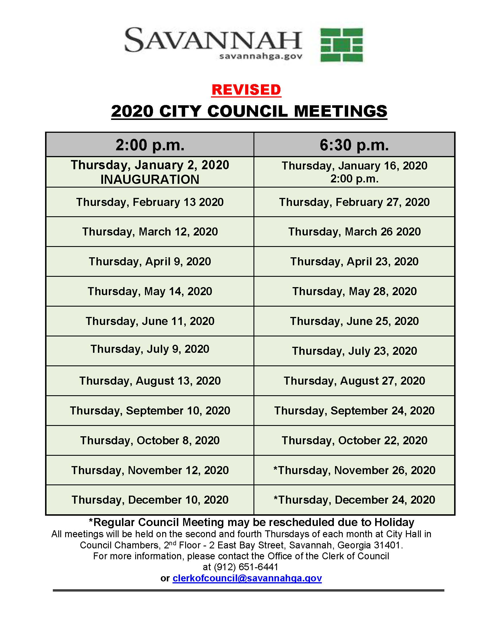 2020 REVISED-2 COUNCIL MEETING DATES
