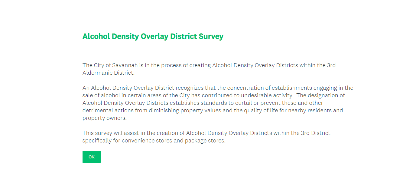 Alcohol Density Overlay District Survey