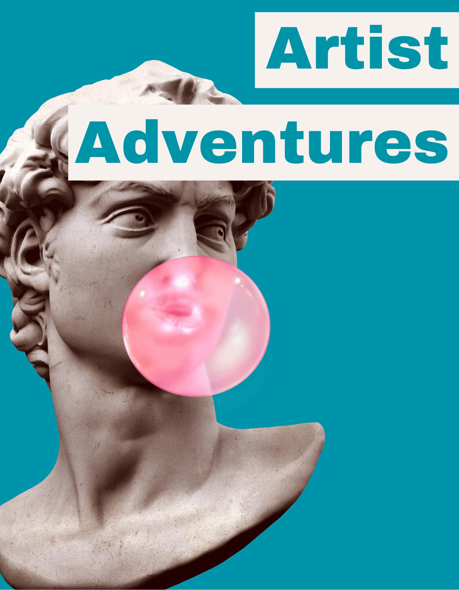 Artist Adventures Statue of david head blowing bubblegum Opens in new window