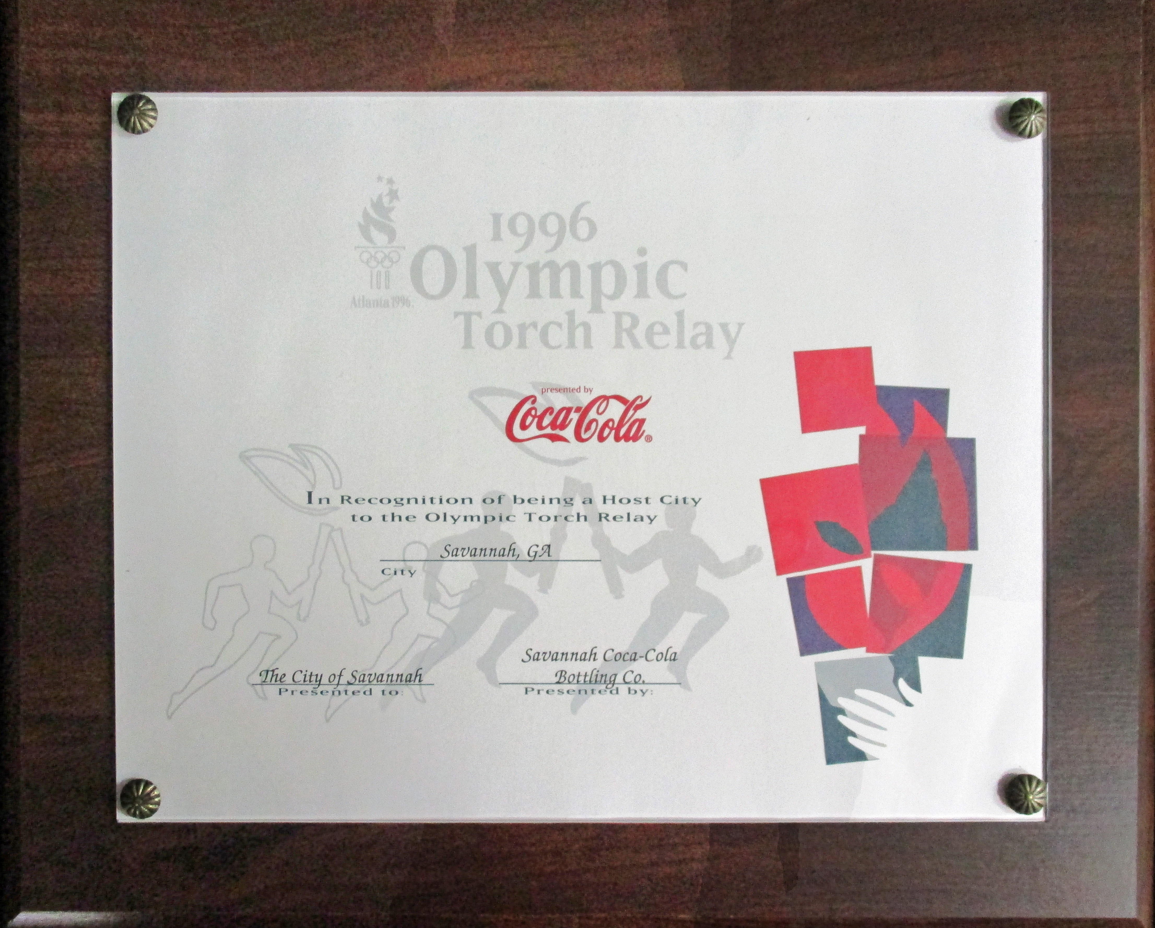 Torch relay plaque