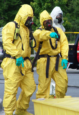 Savannah Firefighters Dressed in Hazmat Suits
